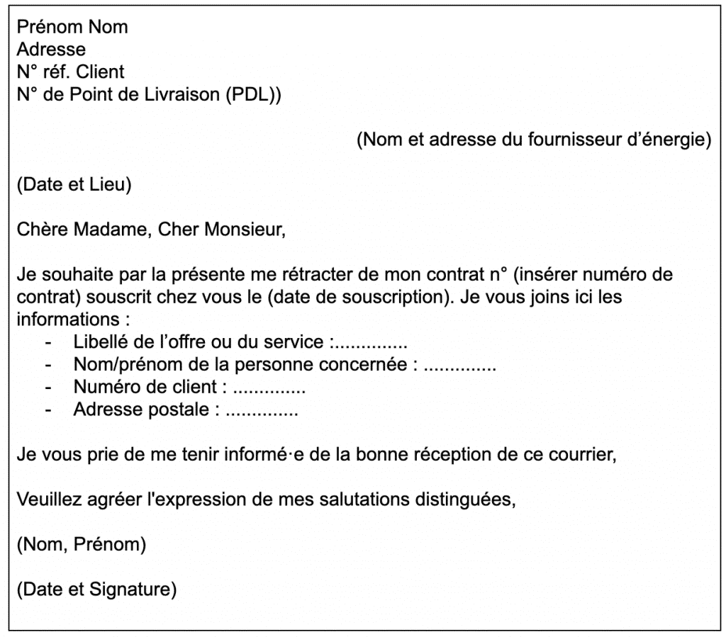 Modèle lettre rétractation